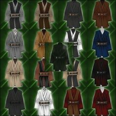 Picture of different colored Jedi garbs (no cloaks)