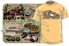 Free Vector T-shirt Designs: Vintage Cars and Trucks