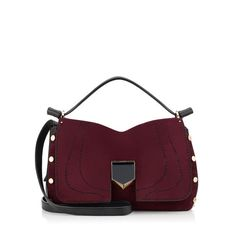 JIMMY CHOO Lockett S Bordeaux Stitched Suede And Black Nappa Handbag. #jimmychoo…
