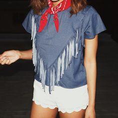 Matt & Chanel: Happy Fourth Of July! Outfit Inspo Patriotic Style Moi Denim Fringe Top Red Birkenstocks Fashion Blogger Bandana Style