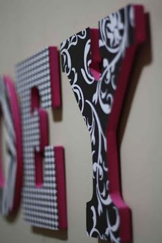 How to make Nursery Letters with wooden letters and scrapbook paper Diy Letters, Nursery Letters, Letter A Crafts, Painted Letters, Wood Letters, Decoupage Letters, Zebra Nursery, Aviation Nursery, Kids Wood