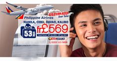 Ultimate Seat Sale       Philippine Airlines ✈       #Manila   #Cebu   #Davao   #Kalibo      From £569       Baggage allowance 53kgs       Travel Period: 08th Oct 2016 – 30th Jun 2017       📱 WhatsApp: +44 778 620 7772      ☎ Call us now: 0203 515 9008