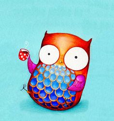 Chipper Morning Owl with Coffee Cup  NEW Painting di AnnyaKaiArt, $18.95