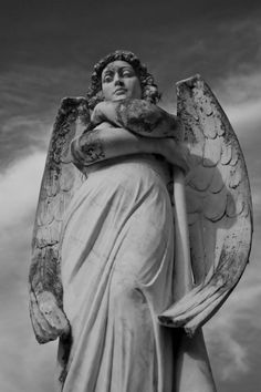 Statue, Angel, stone, beautiful, magnificant, awsome, fantasy art, wings, photo b/w.