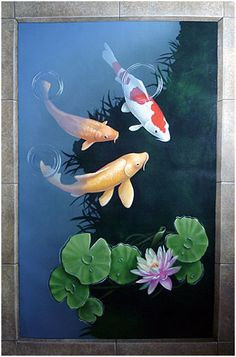 Fine art and decorative painting by Philadelphia artist and muralist Carol Pascale Floorcloth. Fine art and decorative painting by Philadelphia artist and muralist Carol Pascale Koi Fish Drawing, Fish Drawings, Koi Art, Fish Art, Koi Kunst, Koi Painting, Floor Painting, Painted Floor Cloths, Carpe Koi
