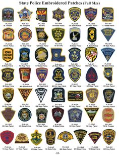A collection of police patches from all 50 states! Military Ranks, Military Police, State Police, Police Uniforms, Police Badges, Deadpool Fan Art, Emergency Vehicles, Police Vehicles, Old Police Cars