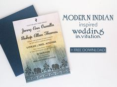Free Modern Indian Wedding Invitation printable template. It has elephants, abstract flowers and a gorgeous hand painted watercolor background in muted tones. Easy to add your text in MS Word! From Download & Print