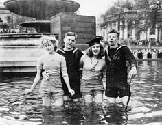 British Sailors and their gals just chilling in a fountain on V-E Day London- May 8,1945
