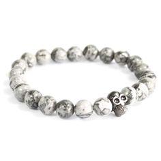 Pewter Skull Grey Agate Gemstone Beaded Bracelet Boho Jewellery One Size Agate Gemstone, Gemstone Bracelets, Hamsa, Boho Jewelry, Unique Jewelry, Jewellery, Swarovski, Skull Pendant, Old Stone