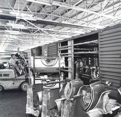 Mustang Assembly Line:  Unloading fenders from stamping plant