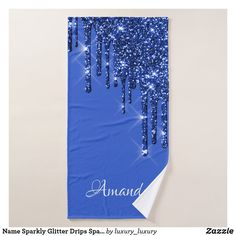 Name Sparkly Glitter Drips Spark Blue Navy Bath Towel Glitter Home Decor, Artwork Design, Kitchen And Bath, Bath Towels, Print Design, Navy, Prints, Blue, Things To Sell