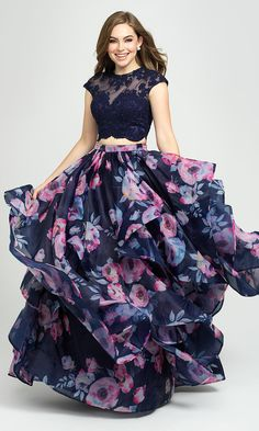 Shop two-piece navy blue floral-print prom dresses at PromGirl. Beaded-bodice dresses for prom, formal dresses with embroidery, and evening gowns with illusion crop tops and floral-print skirts. Party Wear Indian Dresses, Indian Gowns Dresses, Indian Fashion Dresses, Dress Indian Style, Girls Fashion Clothes, Dress Fashion, Girls Frock Design, Long Dress Design, Floral Dress Design