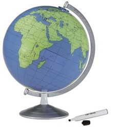The Geographer 12-inch Blue Ocean Write and Erase Desktop World Globe by Replogle stands 16 inches tall and features a unique dry erase board surface to allow you to pencil in what you think each feature on the map is!