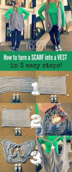 In exactly one minute, I can increase your wardrobe! Yep, here is how to turn a scarf into a vest in one minute. You'll be shocked how easy it is to do.