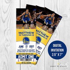 Steph Curry Golden State Printable OR Printed Birthday Invitation  Upon purchase, kindly provide the following information in the NOTES TO SELLER portion or in CONVERSATION:  * Name & Upcoming Age * Event Date * Event Time * Event Location and/or Address * RSVP information: