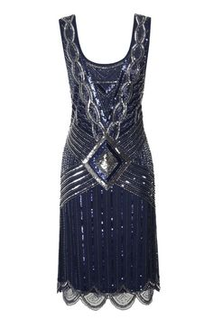 NAVY blue SEQUIN CHARLESTON FLAPPER uk 8 10 12 14 16 GATSBY dress 20's ART DECO #frockandfrill #20s #Cocktail