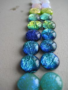 fused glass, fresh out of the kiln handmade cabochons. Dichroic Glass, Fused Glass, Stained Glass, Green Magic, Hot Pot, Painted Stones, Gift Store, Stone Painting, Glass Jewelry