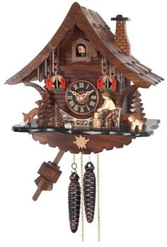 Wall Clocks Décor | River City Clocks One Day Cuckoo Clock Cottage with Man Chopping Wood * Check this awesome product by going to the link at the image. Note:It is Affiliate Link to Amazon. #white