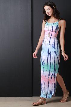 Pastel Tie Dye Side Slit Dress – Style Lavish