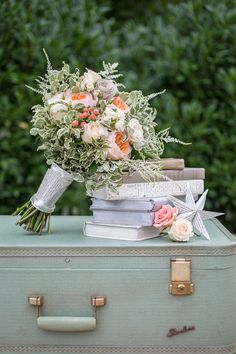 Peach and turquoise book themed summer wedding