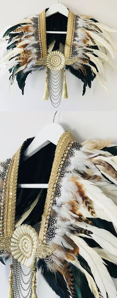Brown natural and gold hand crafted feather wings epaulettes with  embellishment and gold trim. 51c7ef40c9