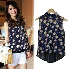 Women's Korean Summer Asymmetric Flower Pattern Sleeveless Chiffon Shirt Blouse