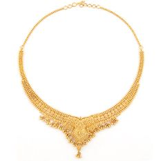 Gold necklace with diamonds.