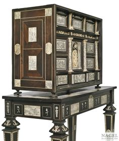 A Baroque iron mounted, engraved ivory inlaid ebony cabinet, Italy, 17th century - Alain.R.Truong