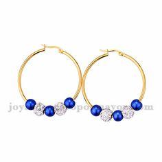 argollas 48 mm de bola azul y brillo en acero dorado inoxidable -SSEGG1104341