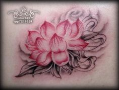 lotus tattoo, grey wash with pink