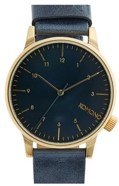 $100, Komono Winston Round Dial Leather Strap Watch 40mm. Sold by Nordstrom. Click for more info: https://lookastic.com/men/shop_items/149535/redirect