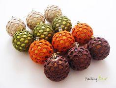 Christmas Ornament- Christmas Tree Decorations-Tree Ornament-Home Decorations,Crocheted Baubles For Christmas Tree by FallingDew on Etsy