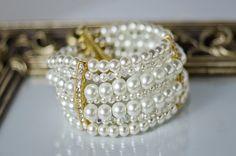 wedding pearl multistrand bracelet by TopGracia