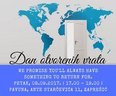 Dan otvorenih vrata - Tecajevi Pavuna, petak, 08.09.2017. od 17.00 do 19.00. Dramska grupa na engleskom, pričanje priča na njemačkom, scrabble na talijanskom, karaoke na španjolskom. Dođite na naš Dan otvorenih vrata u petak, provirite u naše učionice, informirajte se o ponudi naših tečajeva, igrajte se i pjevajte s nama! Njemački jezik – 17.00 – za djecu, 17.45 za odrasle  Engleski jezik – 18.00 za djecu, 18.45 za odrasle Talijanski jezik - 17.00 za djecu, 17.45 za odrasle Španjolski jezik…