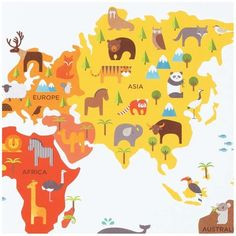 "Wandaufkleber ""World Map"""