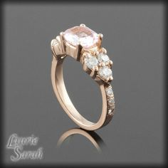 Rose Gold Engagement Ring with Soft Pink by LaurieSarahDesigns, $3,604.50