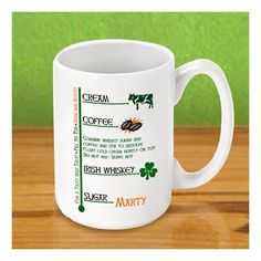 Personalized Irish Coffee Mugs - it can be St.Patrick's day year round with this helpful mug
