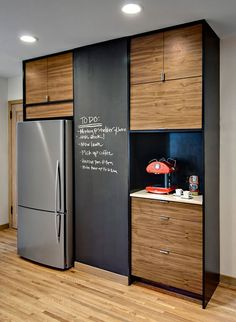 chalkboard wall in kitchen.