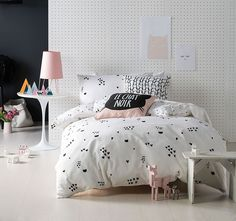 For a dash of French, sophisti-cat style in their bedroom opt for the cuddly cotton-linen of the Le Chat Noir Quilt Cover Set from Linen House. Bedroom Chest, Girls Bedroom, Bedroom Decor, Quilt Cover Sets, Quilt Sets, Sweet Dreams Baby, Kid Spaces, Bed Pillows, Interior Design