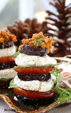 Eggplant and herbed goat cheese stacks