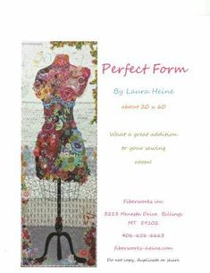 Perfect Form - Fusible Collage Pattern by Laura Heine Quilt fabric online store Largest Selection, Fast Shipping, Best Images, Ship Worldwide Laura Heine, Collage Techniques, Quilt Material, Basic Grey, Dress Form, Mannequin, Quilt Patterns, Quilting Ideas, Sewing Patterns