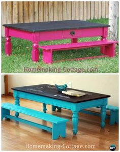 DIY Kidu0027s Chalkboard Table with Benches Instructions - Back-To-School Kids Furniture DIY Ideas Projects & Childrens table set - Kids table - Reclaimed wood kidu0027s farmhouse ...