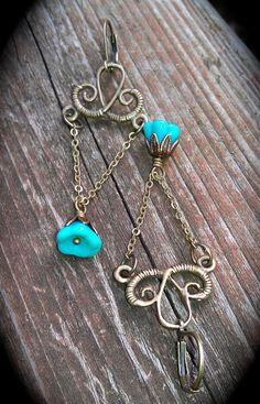 Brass Chandelier Earrings with Blue Czech by practicallyfrivolous, $24.00
