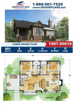 Introducing a tiny Cabin home design, Plan 1907-00018 gives you 681 sq. ft., 2 bedrooms, 2 bathrooms, an open floor plan and a covered porch. Visit our website for more details about making this cozy Cabin yours! Cabin House Plans, Cozy Cabin, Cabin Homes, Open Floor, Porch, Bathrooms, Floor Plans, Exterior, House Design