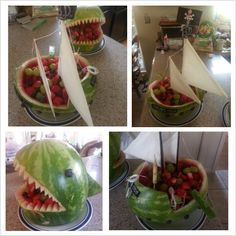 Watermelon pirate ship and shark fruit bowls. Quite a hit for my 4year old nephew's birthday party.