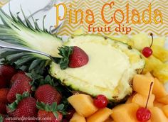 Piña Colada Fruit Dip Recipe  Ingredients  1 (8 oz) can crushed pineapple packed in juice, undrained  1 (3.5 oz) package INSTANT coconut pudding  1/2 cup milk  1/2 cup sour cream  Directions  Mix all ingredients in your blender or food processor for 30 seconds or until well combined.