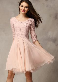 Pink Half Sleeve Lace Bead Chiffon Dress