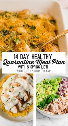 Healthy 14 Day Quarantine Meal Plan (with Shopping List!) – Unbound Wellness This self-quarantine meal plan features nourishing meals that can easily be made with items from the freezer and pantry! Paleo Meal Plan, 7 Day Meal Plan, Clean Eating Meal Plan, Clean Eating Recipes, Meal Prep, Healthy Eating, Keto Meal, Planning Budget, Meal Planning