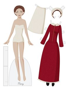 MARY Wears Typical Dress of 1620 by Julie Matthews from Paper Doll School