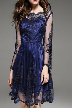 $94.99 Navy Blue Gauze Dress products_id:(1000012981 or 1000012425 or 1000012622 or 1000012369)